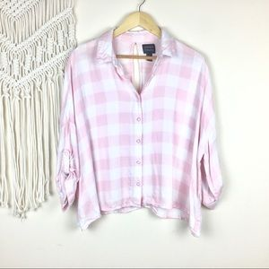 Forever 21 • Pink  and White Gingham Flannel